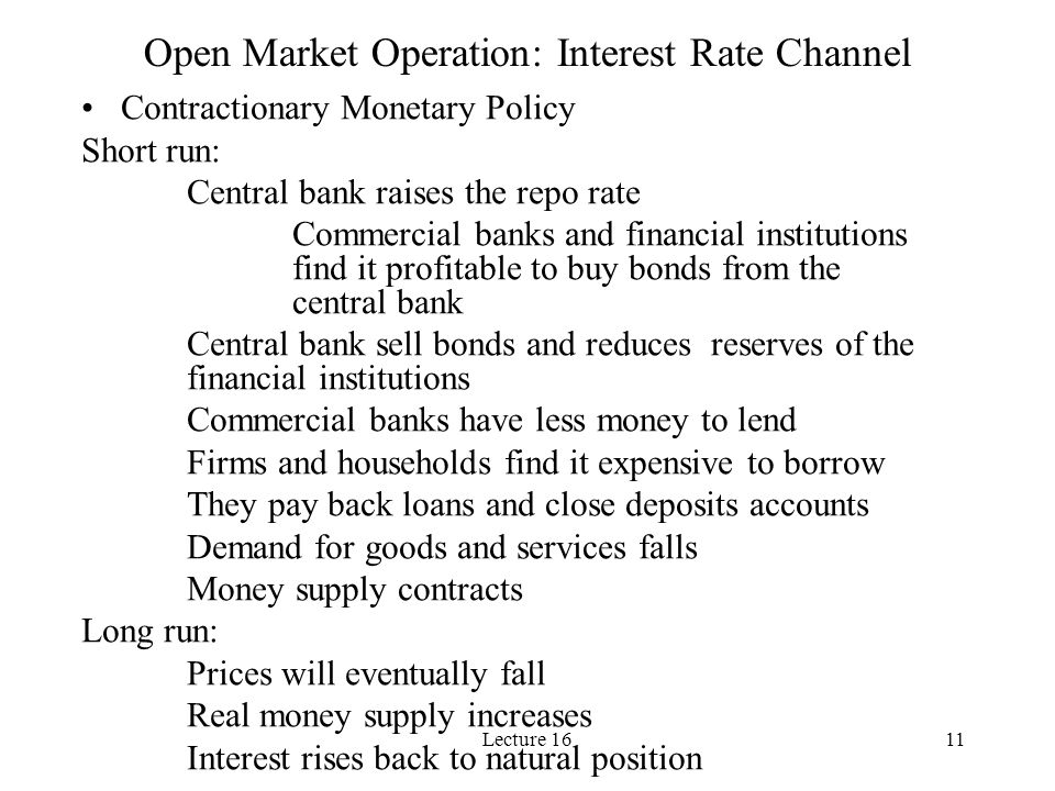Lecture 1611 Open Market Operation: Interest Rate Channel Contractionary Monetary Policy Short run: Central bank raises the repo rate Commercial banks and financial institutions find it profitable to buy bonds from the central bank Central bank sell bonds and reduces reserves of the financial institutions Commercial banks have less money to lend Firms and households find it expensive to borrow They pay back loans and close deposits accounts Demand for goods and services falls Money supply contracts Long run: Prices will eventually fall Real money supply increases Interest rises back to natural position