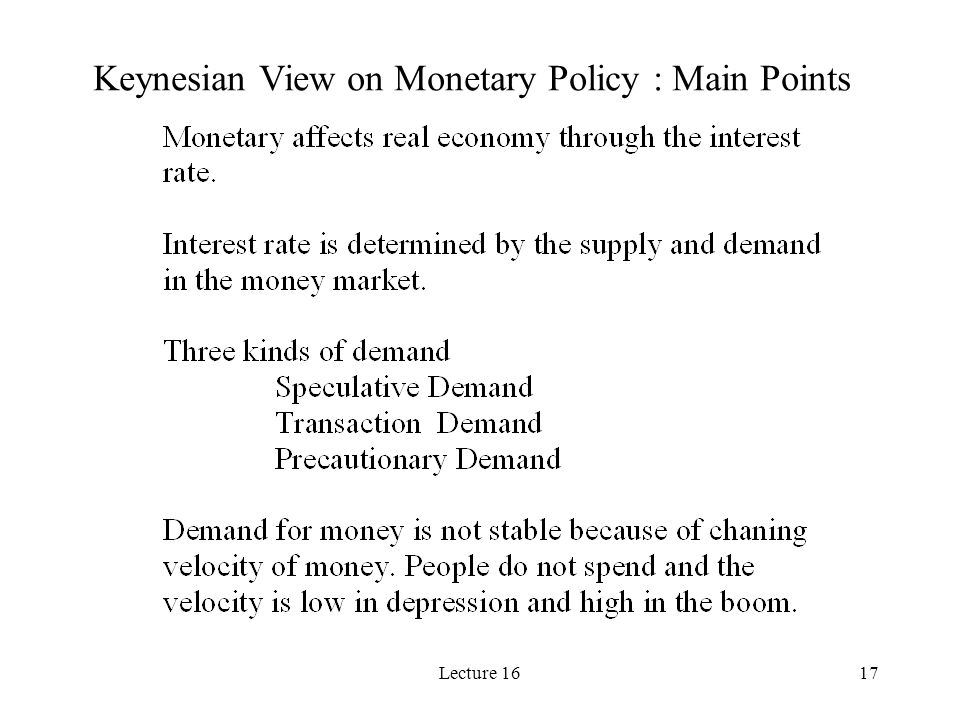 Lecture 1617 Keynesian View on Monetary Policy : Main Points