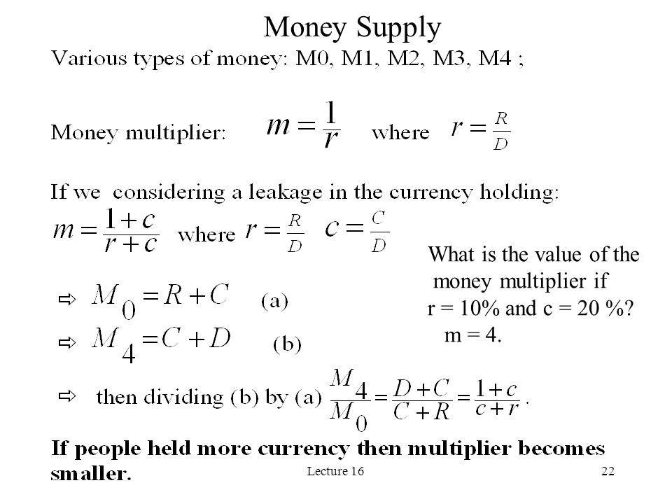 Lecture 1622 Money Supply What is the value of the money multiplier if r = 10% and c = 20 %? m = 4.