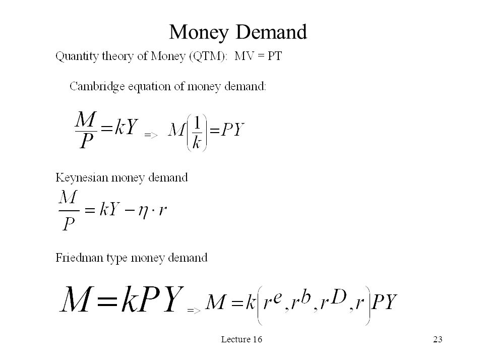 Lecture 1623 Money Demand