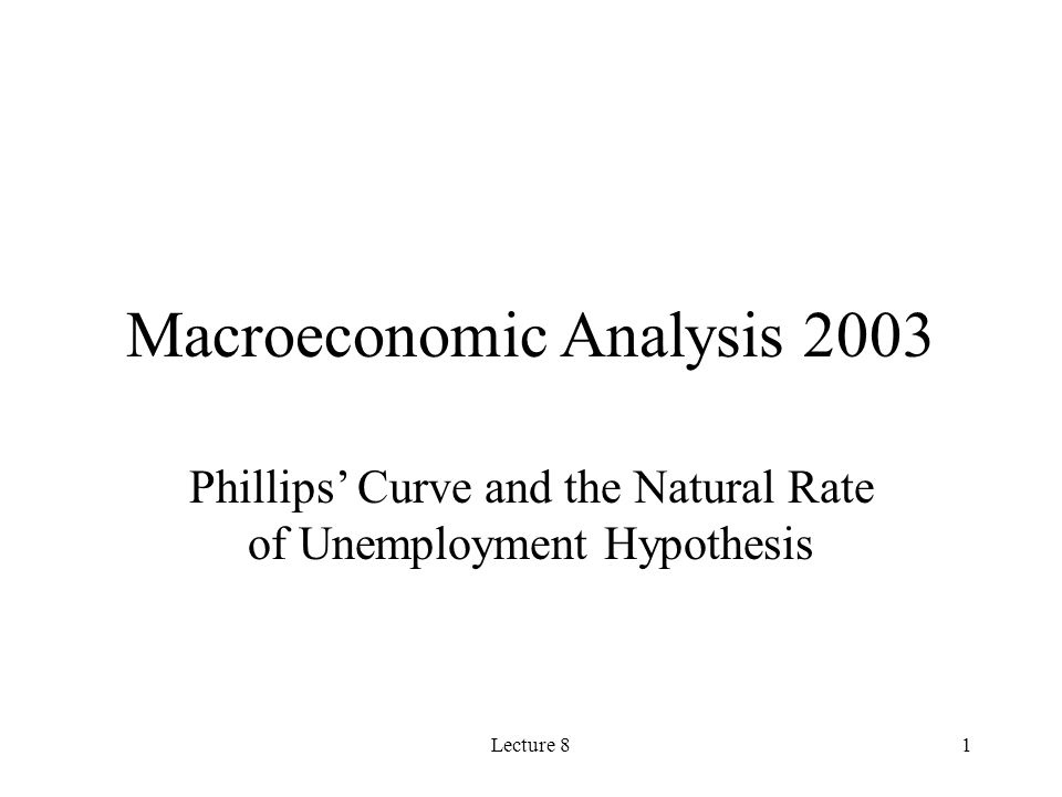Lecture 81 Macroeconomic Analysis 2003 Phillips Curve and the Natural Rate of Unemployment Hypothesis