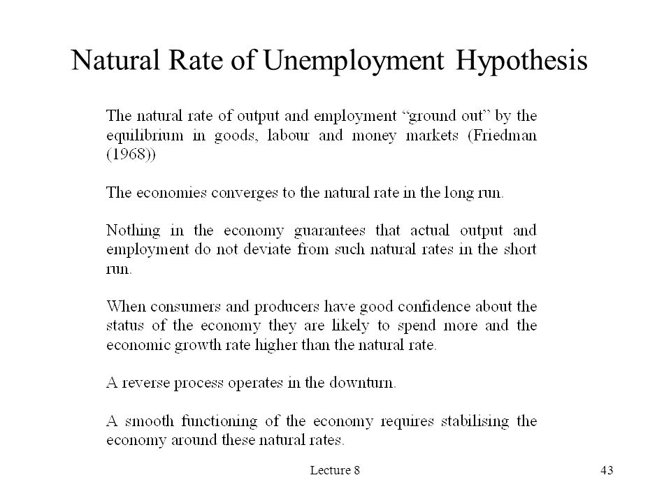 Lecture 843 Natural Rate of Unemployment Hypothesis