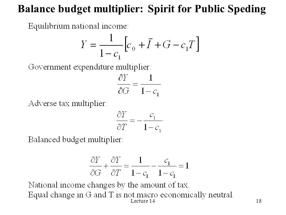 Lecture 1418 Balance budget multiplier: Spirit for Public Speding