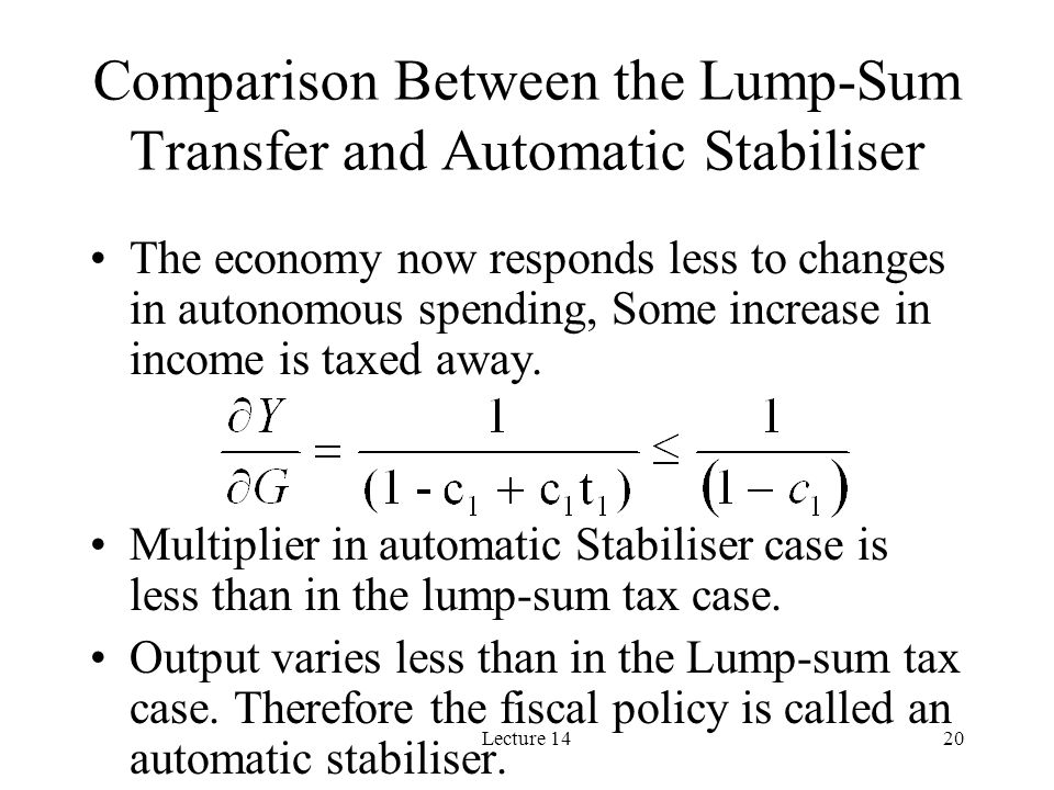 Lecture 1420 Comparison Between the Lump-Sum Transfer and Automatic Stabiliser The economy now responds less to changes in autonomous spending, Some increase in income is taxed away.