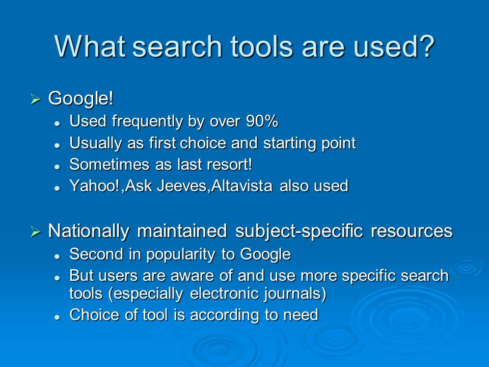 What search tools are used? Google! Google! Used frequently by over 90% Used frequently by over 90% Usually as first choice and starting point Usually