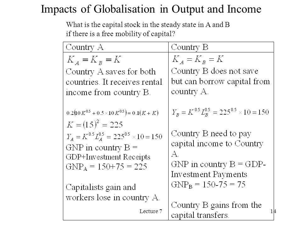 Lecture 714 Impacts of Globalisation in Output and Income What is the capital stock in the steady state in A and B if there is a free mobility of capital