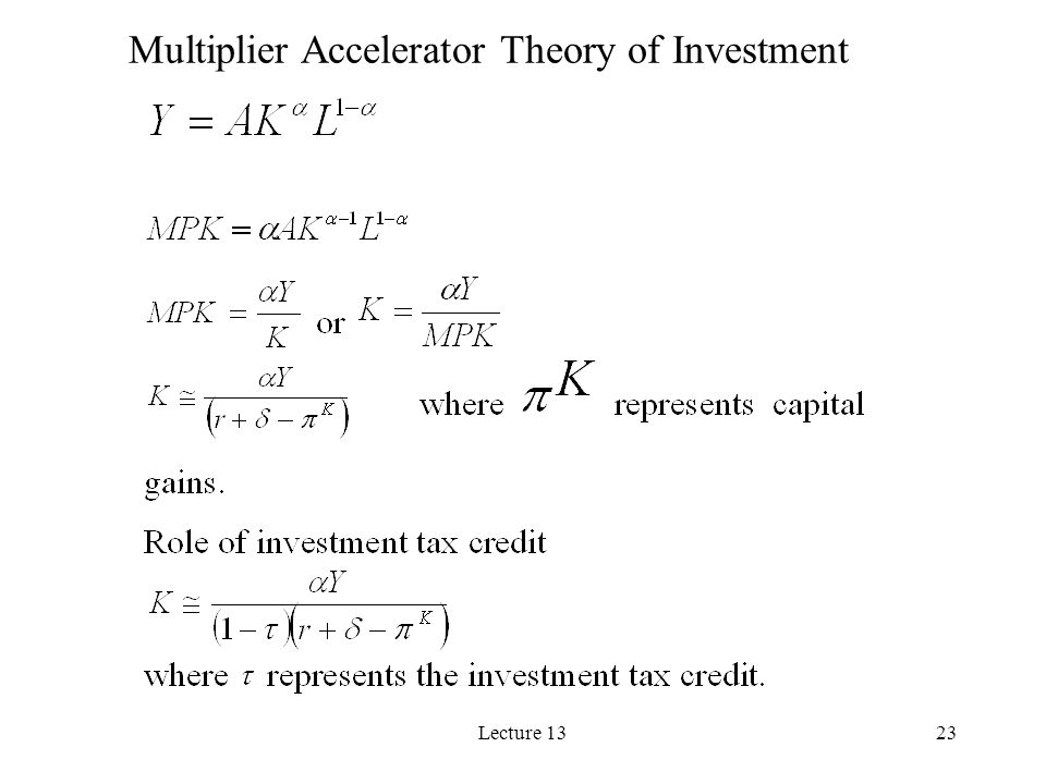 Lecture 1323 Multiplier Accelerator Theory of Investment
