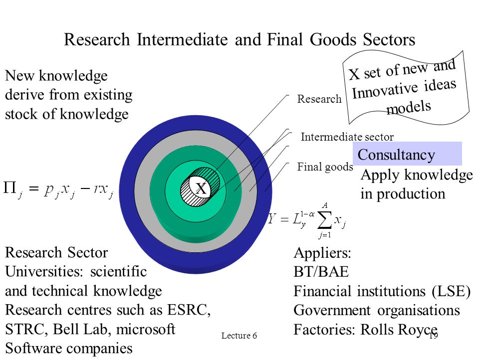 Lecture 619 Research Intermediate and Final Goods Sectors Research Intermediate sector Final goods X X set of new and Innovative ideas models Consulta