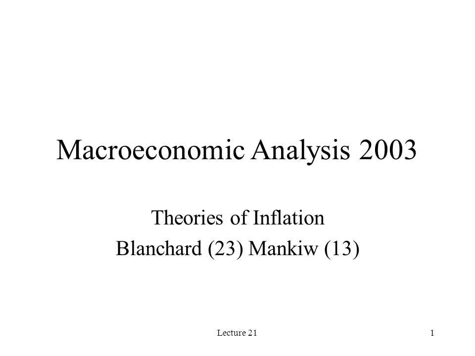 Lecture 211 Macroeconomic Analysis 2003 Theories of Inflation Blanchard (23) Mankiw (13)