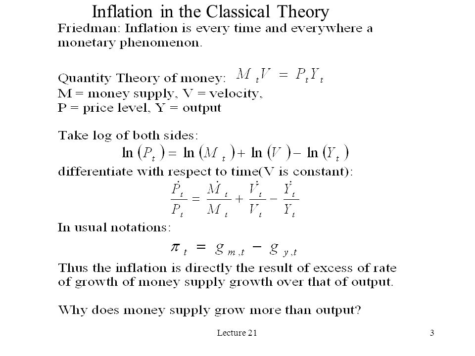 Lecture 213 Inflation in the Classical Theory