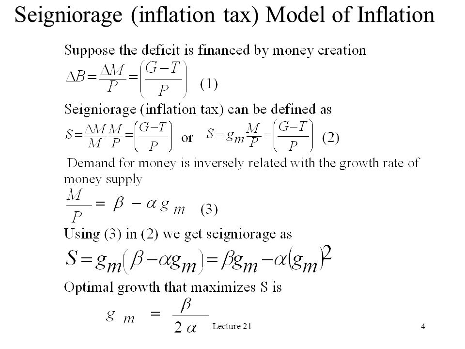 Lecture 214 Seigniorage (inflation tax) Model of Inflation