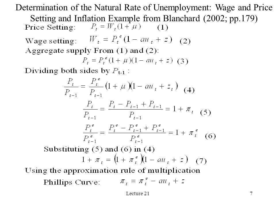 Lecture 217 Determination of the Natural Rate of Unemployment: Wage and Price Setting and Inflation Example from Blanchard (2002; pp.179)