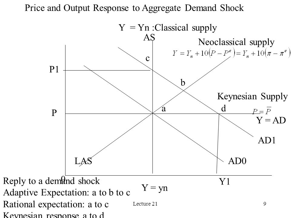 Lecture 219 Y = Yn :Classical supply Neoclassical supply Y = AD Keynesian Supply 0 Y = yn Y1 P P1 Reply to a demand shock Adaptive Expectation: a to b to c Rational expectation: a to c Keynesian response a to d a b c d LAS AS AD0 AD1 Price and Output Response to Aggregate Demand Shock