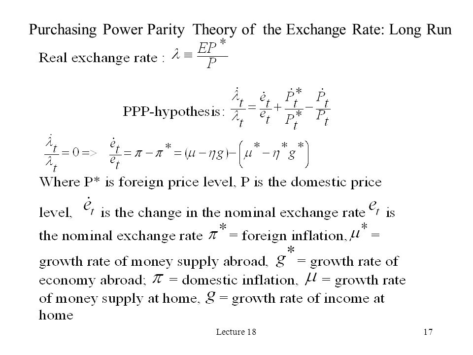Lecture 1817 Purchasing Power Parity Theory of the Exchange Rate: Long Run