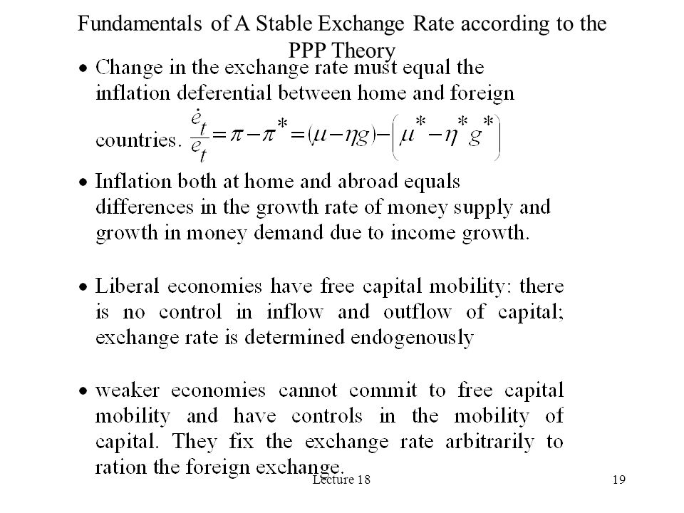 Lecture 1819 Fundamentals of A Stable Exchange Rate according to the PPP Theory