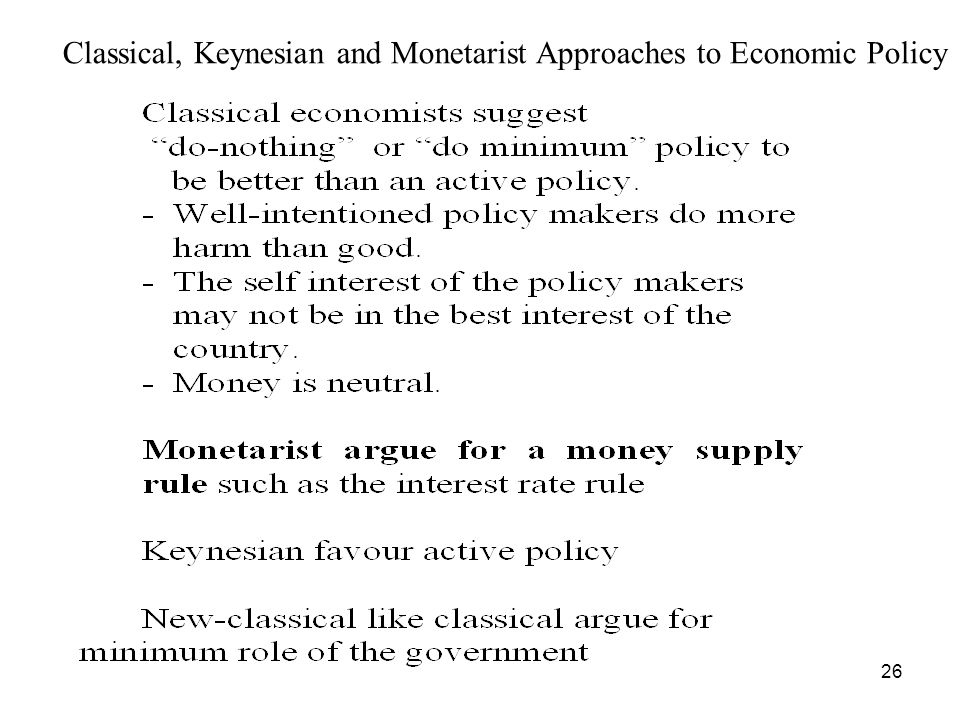 26 Classical, Keynesian and Monetarist Approaches to Economic Policy