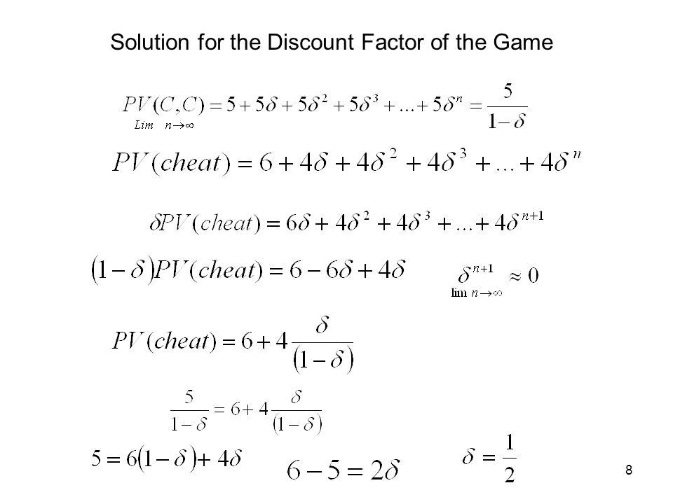 8 Solution for the Discount Factor of the Game