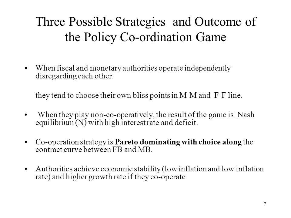 7 Three Possible Strategies and Outcome of the Policy Co-ordination Game When fiscal and monetary authorities operate independently disregarding each other.
