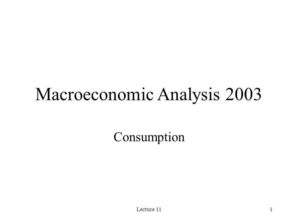 Lecture 111 Macroeconomic Analysis 2003 Consumption