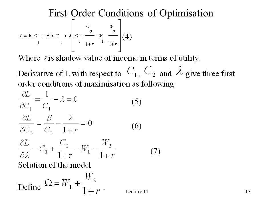 Lecture 1113 First Order Conditions of Optimisation