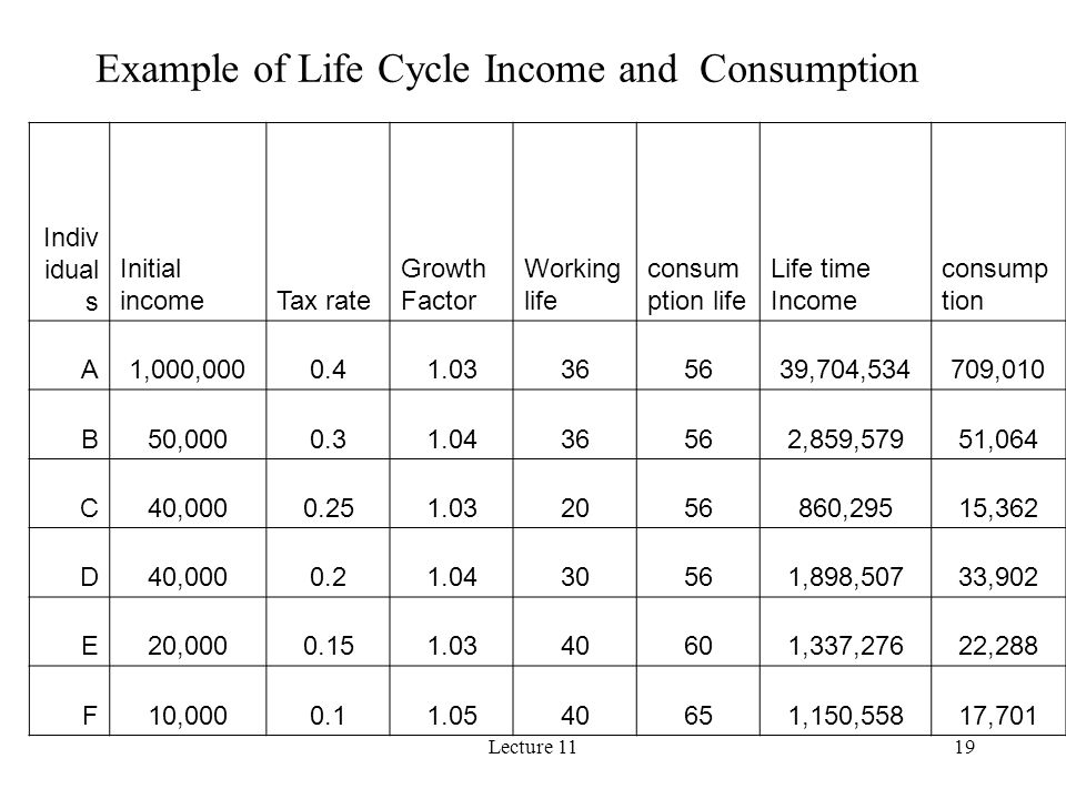 Lecture 1119 Indiv idual s Initial incomeTax rate Growth Factor Working life consum ption life Life time Income consump tion A1,000,0000.41.03365639,7