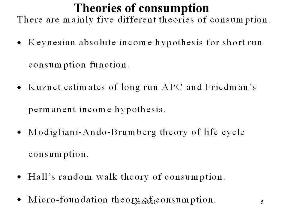 5 Theories of consumption
