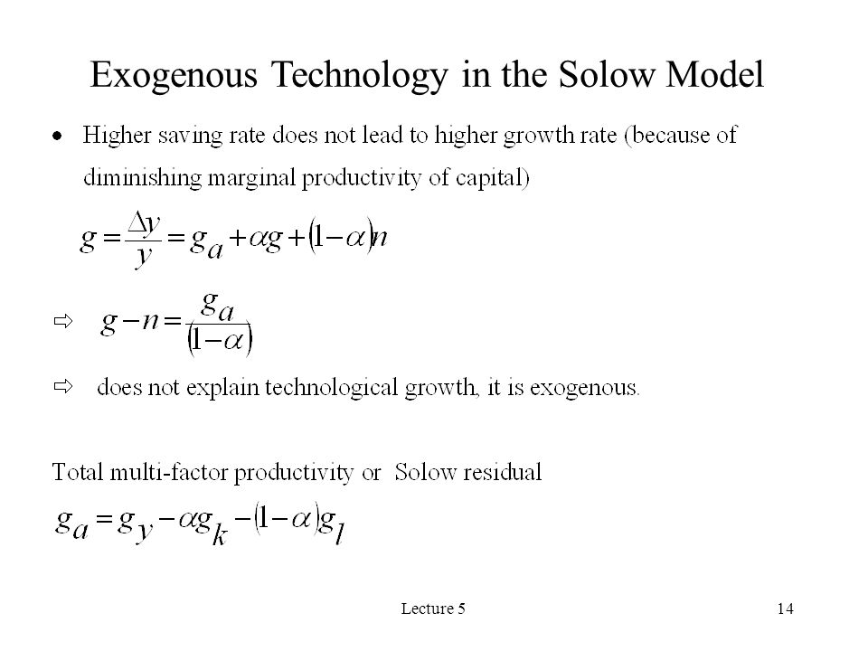 Lecture 514 Exogenous Technology in the Solow Model
