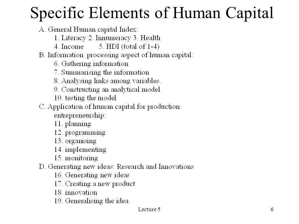 Lecture 517 Human Capital, Savings and Economic Growth