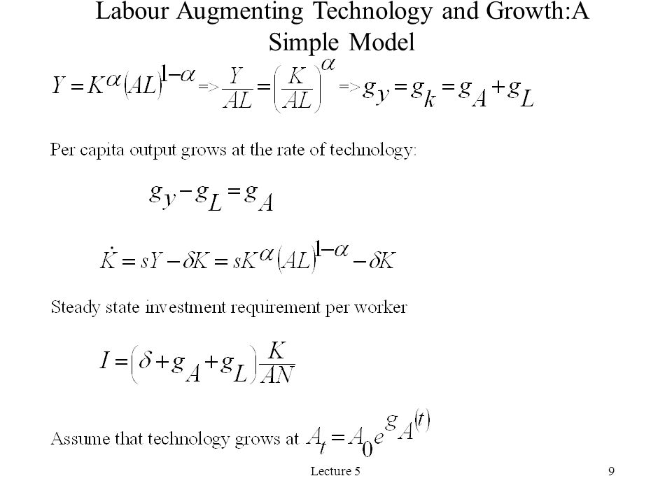 Lecture 59 Labour Augmenting Technology and Growth:A Simple Model