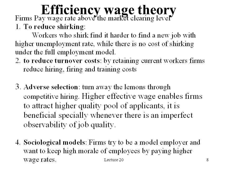 Lecture 208 Efficiency wage theory