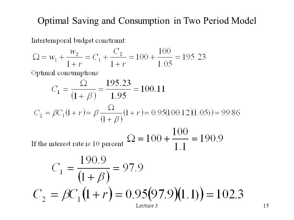 Lecture 315 Optimal Saving and Consumption in Two Period Model