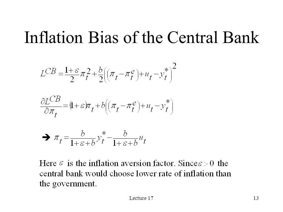 Lecture 1713 Inflation Bias of the Central Bank