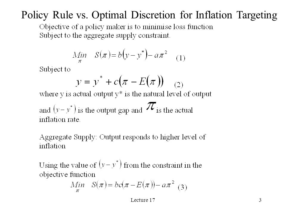 Lecture 174 Optimal Inflation Under the Policy Rule
