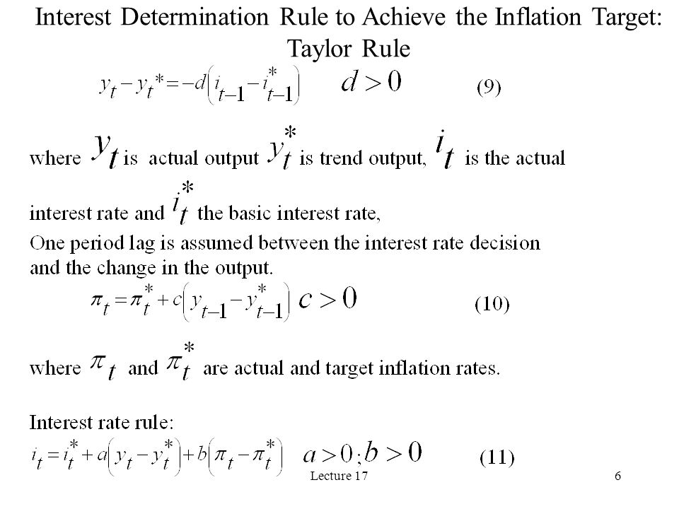 Lecture 176 Interest Determination Rule to Achieve the Inflation Target: Taylor Rule