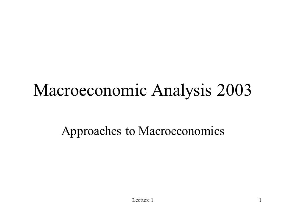 Lecture 11 Macroeconomic Analysis 2003 Approaches to Macroeconomics