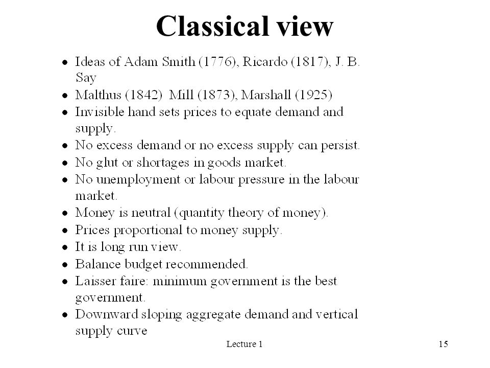 Lecture 115 Classical view