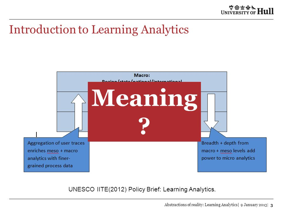 Abstractions of reality: Learning Analytics| 9 January 2013| 4