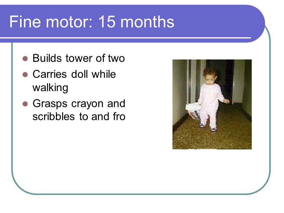 Fine motor: 15 months Builds tower of two Carries doll while walking Grasps crayon and scribbles to and fro