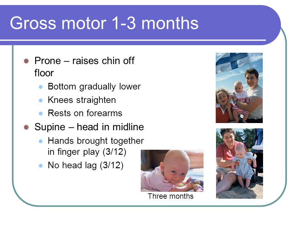 Gross motor 1-3 months Prone – raises chin off floor Bottom gradually lower Knees straighten Rests on forearms Supine – head in midline Hands brought together in finger play (3/12) No head lag (3/12) Three months