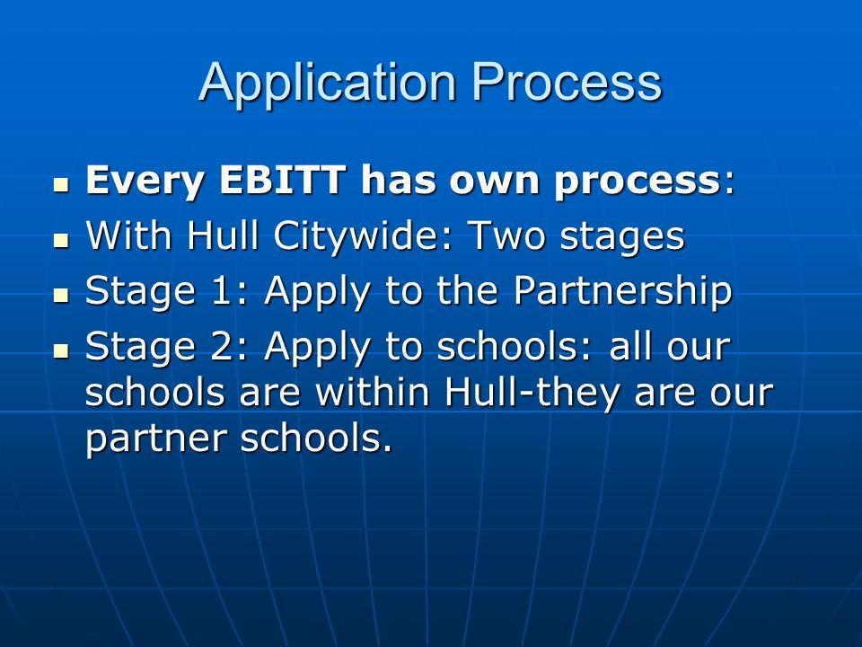 Application Process Every EBITT has own process: Every EBITT has own process: With Hull Citywide: Two stages With Hull Citywide: Two stages Stage 1: A