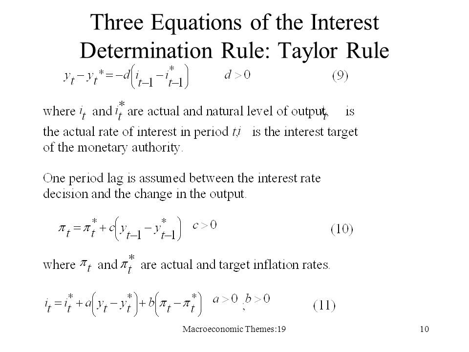 Macroeconomic Themes:1910 Three Equations of the Interest Determination Rule: Taylor Rule