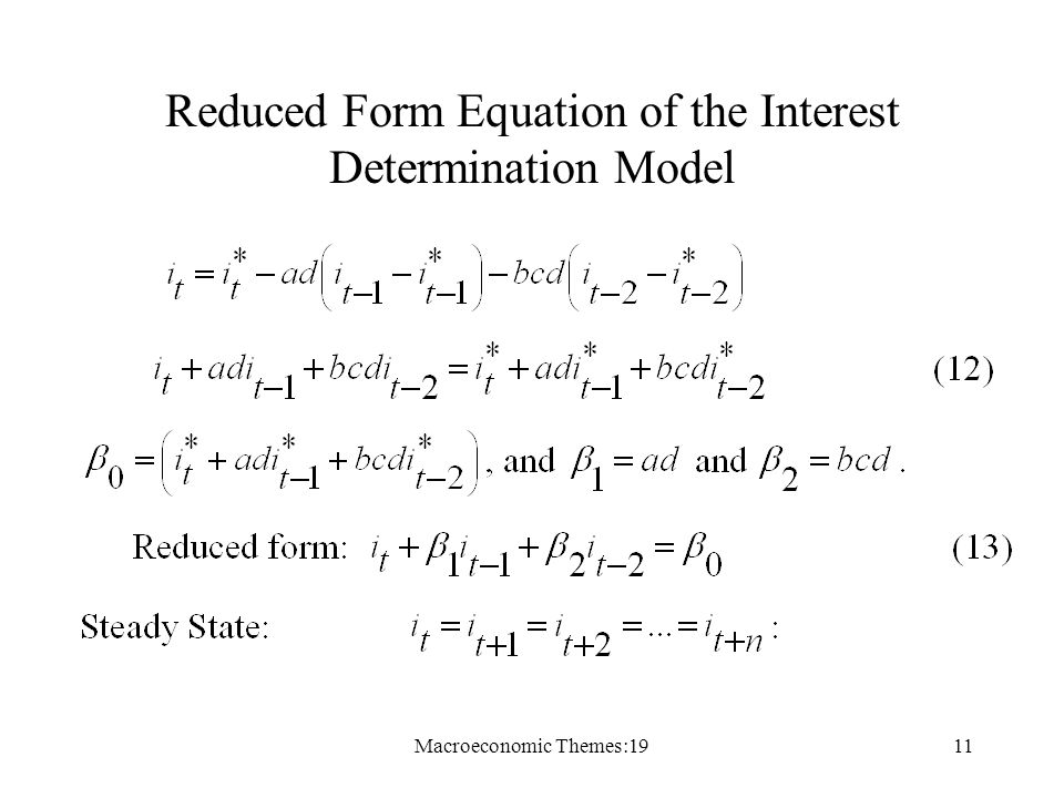 Macroeconomic Themes:1911 Reduced Form Equation of the Interest Determination Model