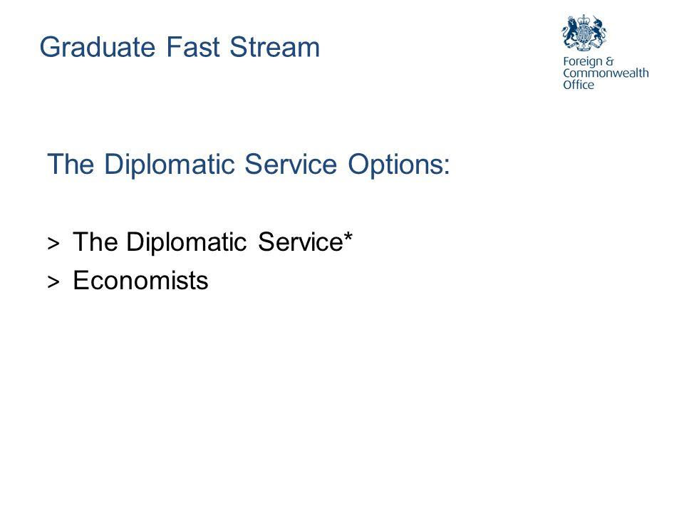 Graduate Fast Stream The Diplomatic Service Options: > The Diplomatic Service* > Economists