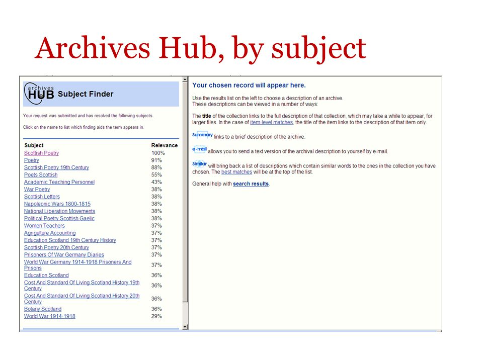 Archives Hub, by subject details from 340+ English archives, is very detailed but not comprehensive, can search by region or archive http://www.nationalarchives.gov.uk/a2a/
