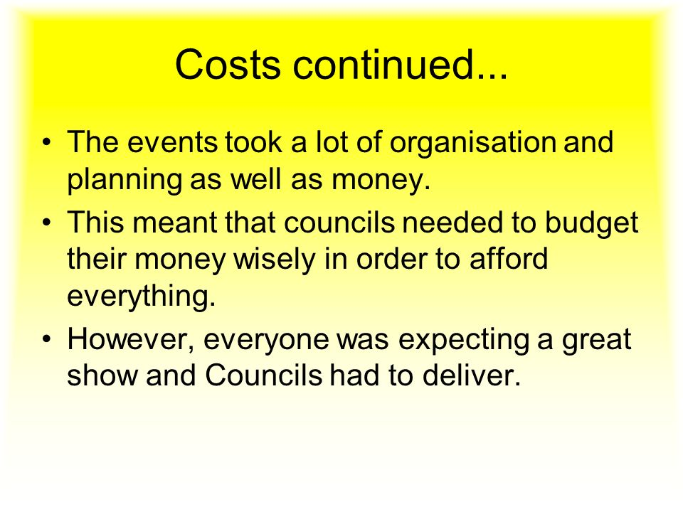 Costs continued... The events took a lot of organisation and planning as well as money.