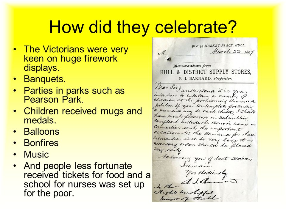 How did they celebrate. The Victorians were very keen on huge firework displays.