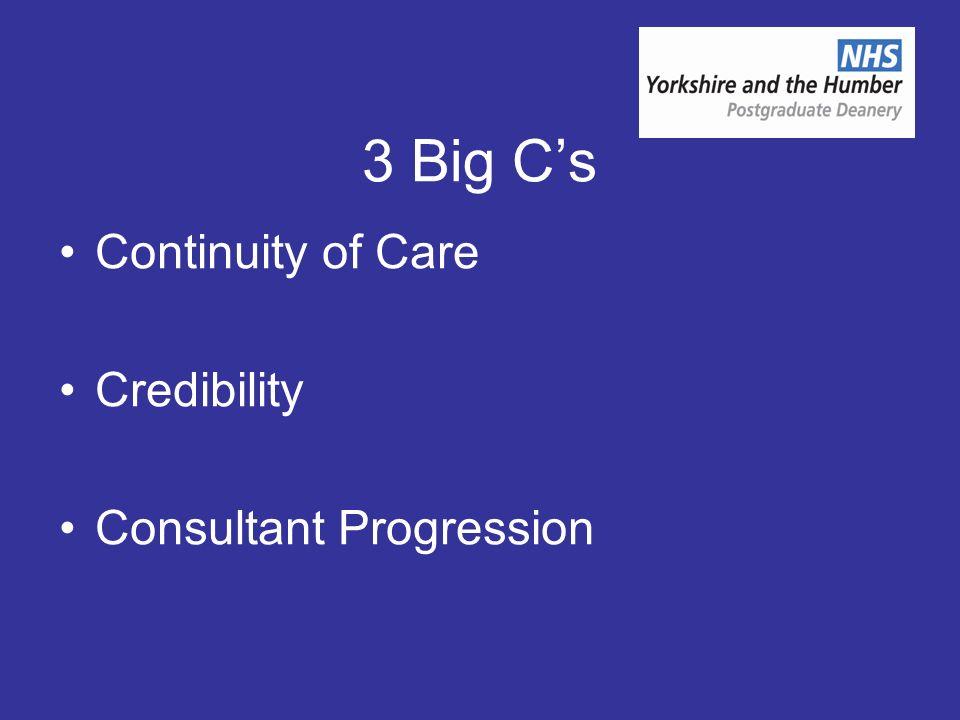 3 Big Cs Continuity of Care Credibility Consultant Progression