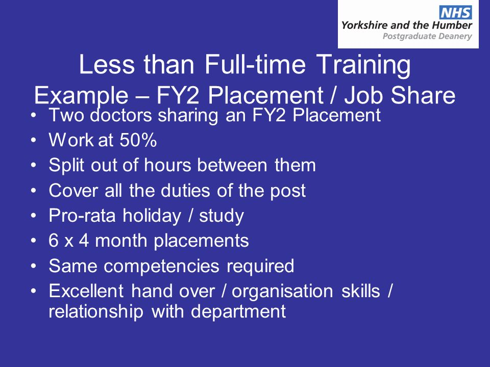 Less than Full-time Training Example – FY2 Placement / Job Share Two doctors sharing an FY2 Placement Work at 50% Split out of hours between them Cover all the duties of the post Pro-rata holiday / study 6 x 4 month placements Same competencies required Excellent hand over / organisation skills / relationship with department