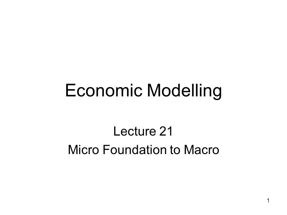 1 Economic Modelling Lecture 21 Micro Foundation to Macro
