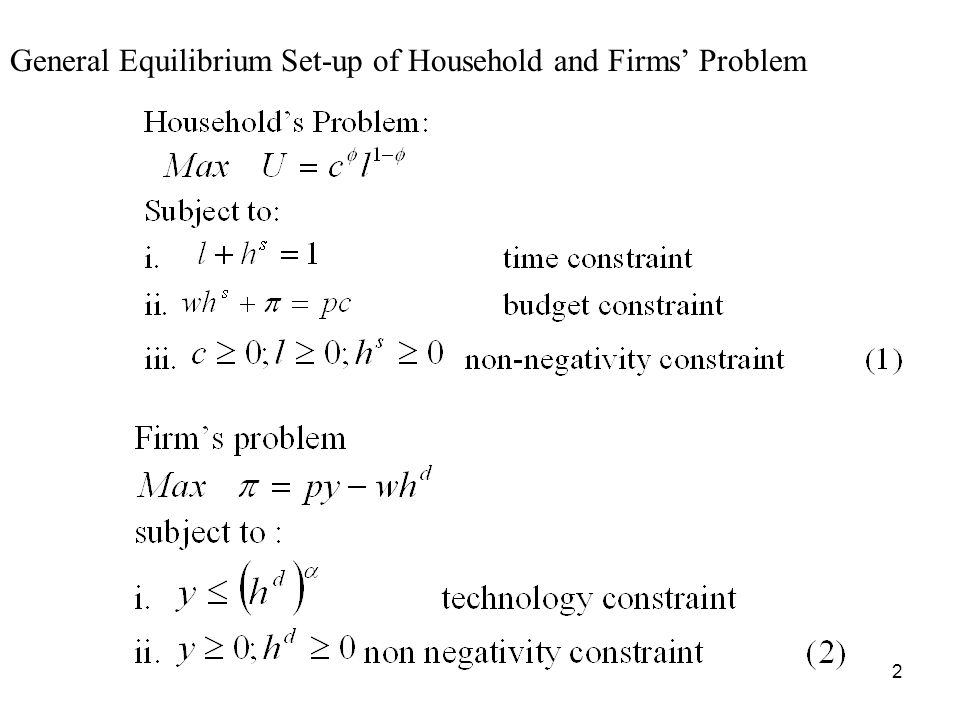 2 General Equilibrium Set-up of Household and Firms Problem